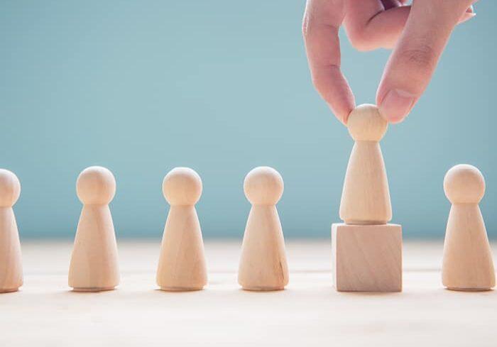 Successful team leader, Businessman hand choose people standing